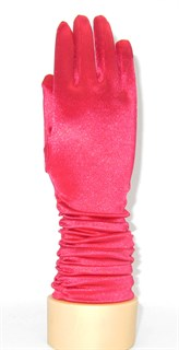 8-13 лет. Атласные детские перчатки 3/4 на сборке. Красные