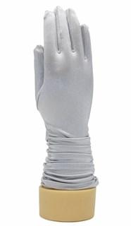 8-13 лет. Атласные детские перчатки 3/4 со сборкой. Серые
