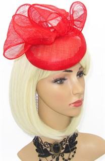 Шляпка таблетка с объемным бантом Аманда. Красная