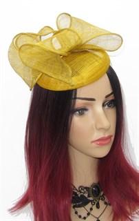 Шляпка таблетка с объемным бантом Аманда. Золотая