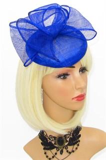 Шляпка таблетка с объемным бантом Аманда. Синяя