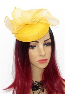 Шляпка таблетка с объемным бантом Аманда. Желтая