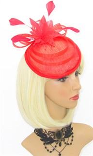 Элегантная шляпка таблетка Ива. Красная - фото 16101