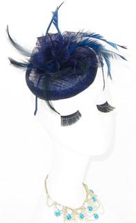 Шляпка таблетка из синамей Вероника. Темно-синяя