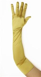 Длинные атласные золотые перчатки. 55 см