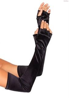 Длинные черные атласные перчатки без пальцев. 55 см