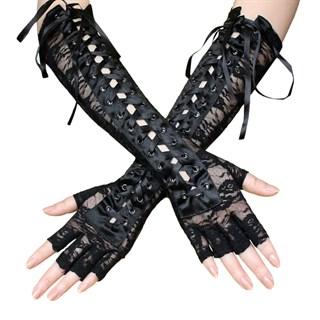 Гипюровые длинные перчатки без пальцев со шнуровкой