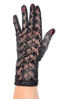 Трикотажные перчатки с кружевом. 3370 Черные