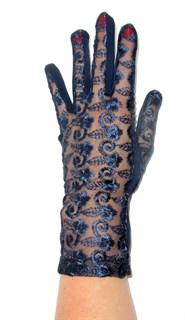 Трикотажные перчатки с кружевом. 3371 Темно-синие