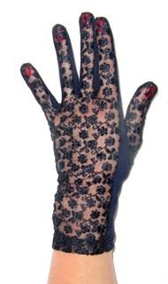 Трикотажные перчатки с кружевом. Темно-синие