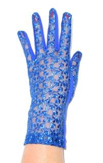 Трикотажные перчатки с кружевом. Синий электрик