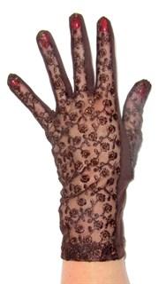Трикотажные перчатки с кружевом. Шоколад