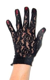 Короткие перчатки из мягкого гипюра. р.7-10