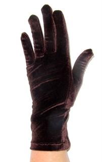 Велюровые короткие перчатки. Шоколад