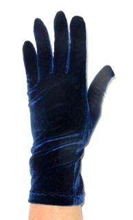 Велюровые короткие перчатки. Темно-синий