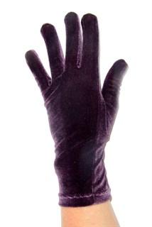 Велюровые короткие перчатки. Баклажан