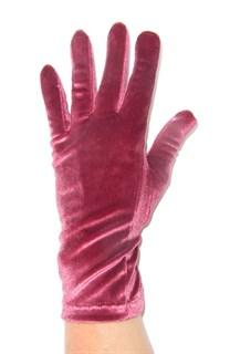 Велюровые короткие перчатки. Брусничный цвет