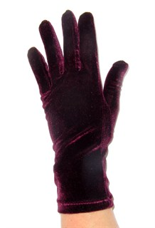 Велюровые короткие перчатки. Бордо