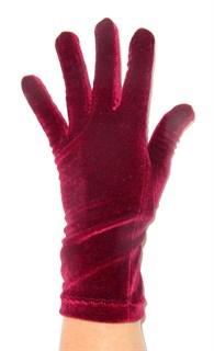 Велюровые короткие перчатки. Розово-красный цвет