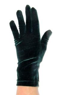 Велюровые короткие перчатки. Темный изумруд