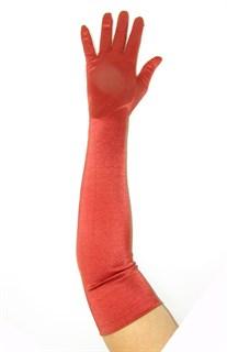 Длинные атласные перчатки красно-оранжевого цвета. 50см