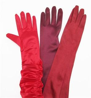 Длинные атласные перчатки красно-оранжевого цвета. 50см - фото 16418