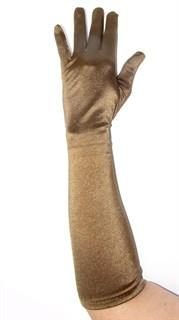Атласные перчатки оливково-коричневого цвета.