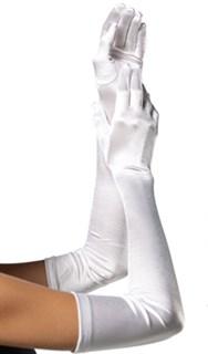 Длинные белые атласные перчатки. 50, 55 и 65 см