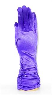 Атласные перчатки со сборками 3/4. Фиолетовые