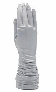 Атласные перчатки со сборками 3/4. Светло-серые