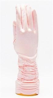 Атласные перчатки со сборками 3/4. Светло-розовые