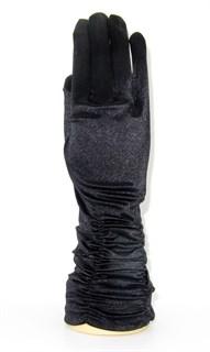 Атласные перчатки со сборками 3/4. Черные
