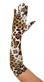 Длинные перчатки крупный леопард. Тонкий трикотаж