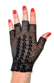 Короткие перчатки без пальцев сетка ручная работа. 3419 - фото 16560