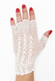 Короткие перчатки без пальцев сетка ручная работа. 3419