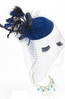 Шляпка с вуалью Жанет с высокими перьями. Темно-синяя