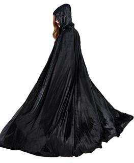 Черный широкий плащ с капюшоном  из велюра - фото 16659