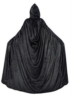Черный широкий плащ с капюшоном  из велюра - фото 16661