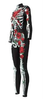 Костюм скелета комбинезон с красными цветами - фото 16695