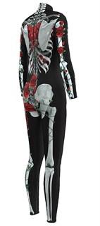 Костюм скелета комбинезон с красными цветами - фото 16696