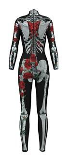 Костюм скелета комбинезон с красными цветами