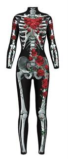 Костюм скелета комбинезон с красными цветами - фото 16698
