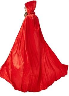 Красный широкий плащ с капюшоном - фото 16728