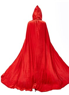 Красный широкий плащ с капюшоном - фото 16731