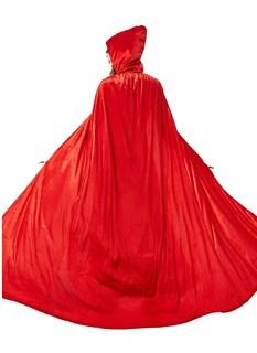 Красный широкий плащ с капюшоном - фото 16733