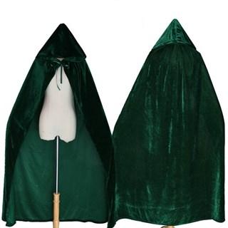Темно-зеленый широкий плащ с капюшоном - фото 16743