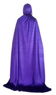 Фиолетовый широкий плащ с капюшоном