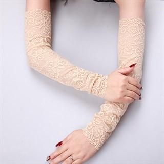 Кружевные длинные рукава. Бежевые