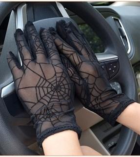 Перчатки паутинка с блестками короткие