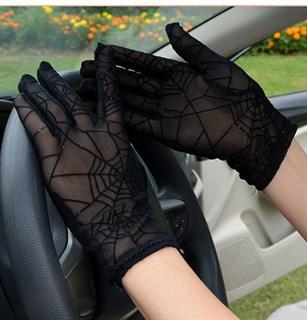 Перчатки паутинка с блестками короткие - фото 16817
